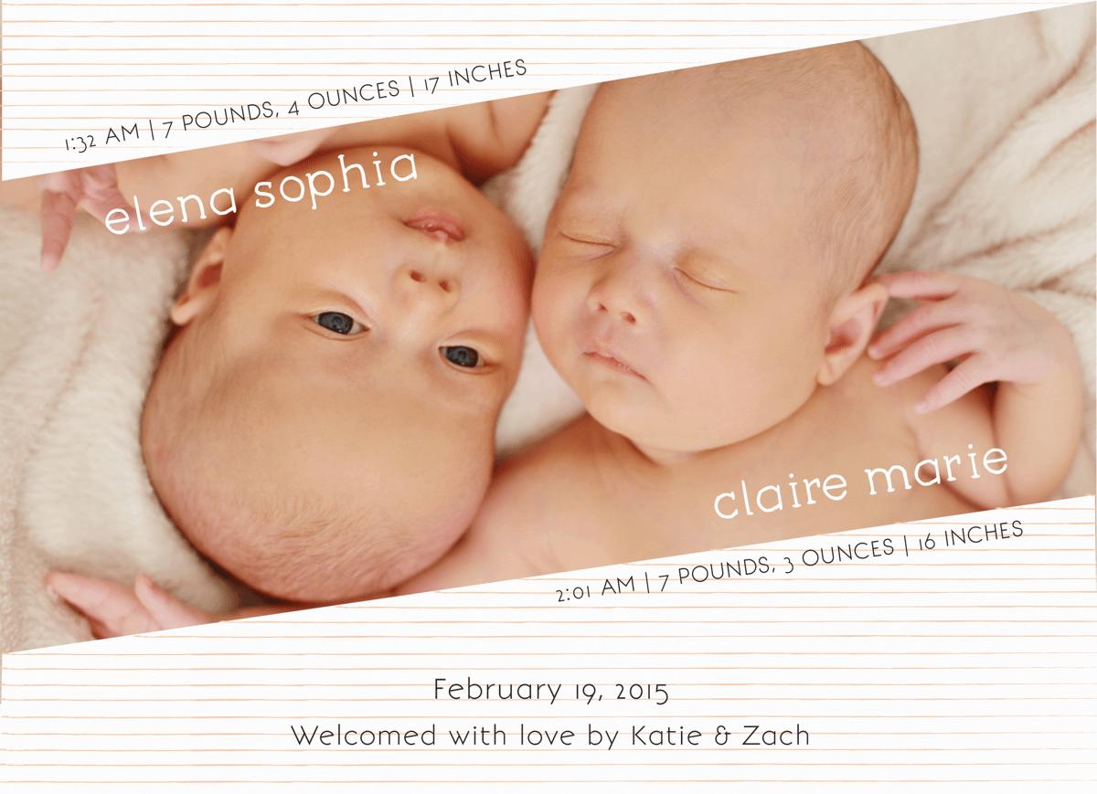 Peach Striped Custom Photo Twin Birth Announcement