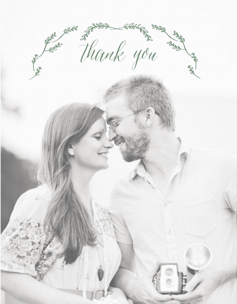 Leafy Wreath Photo Wedding Thank You Card