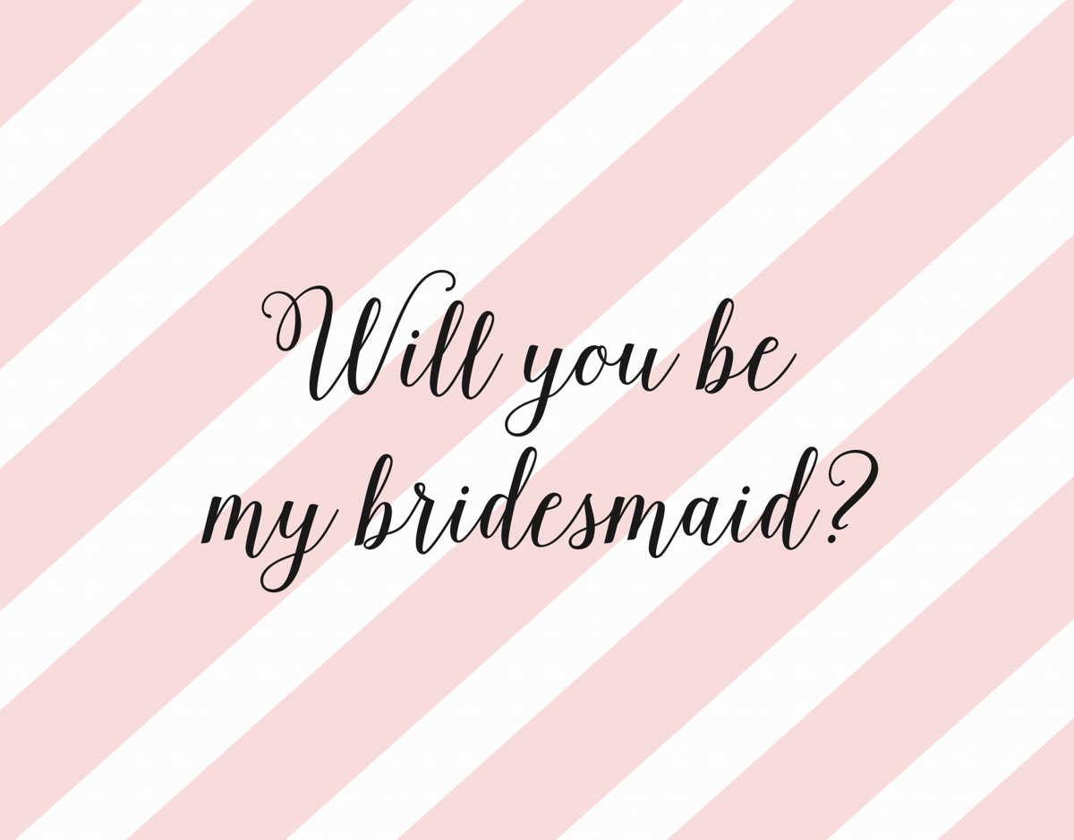 Pink Stipend Will You be My Bridesmaid Card