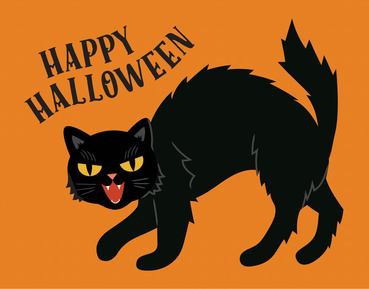 Black Cat Halloween Card