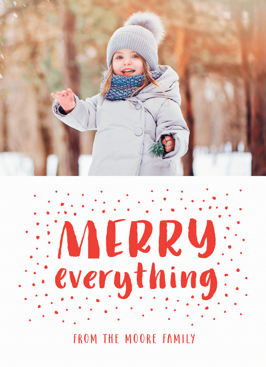 Hand Lettered Merry Everything Holiday photo Card