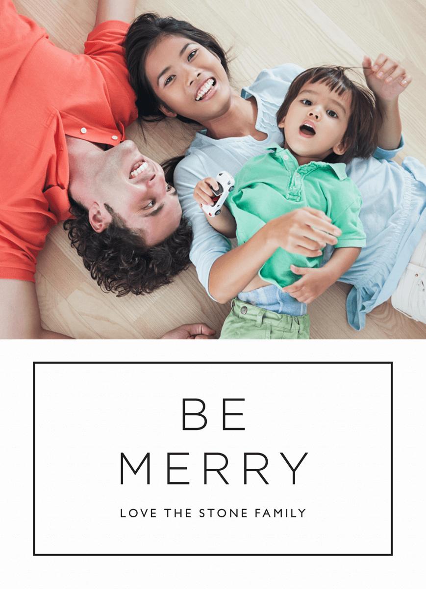 Custom Photo Minimal Be Merry Holiday Card