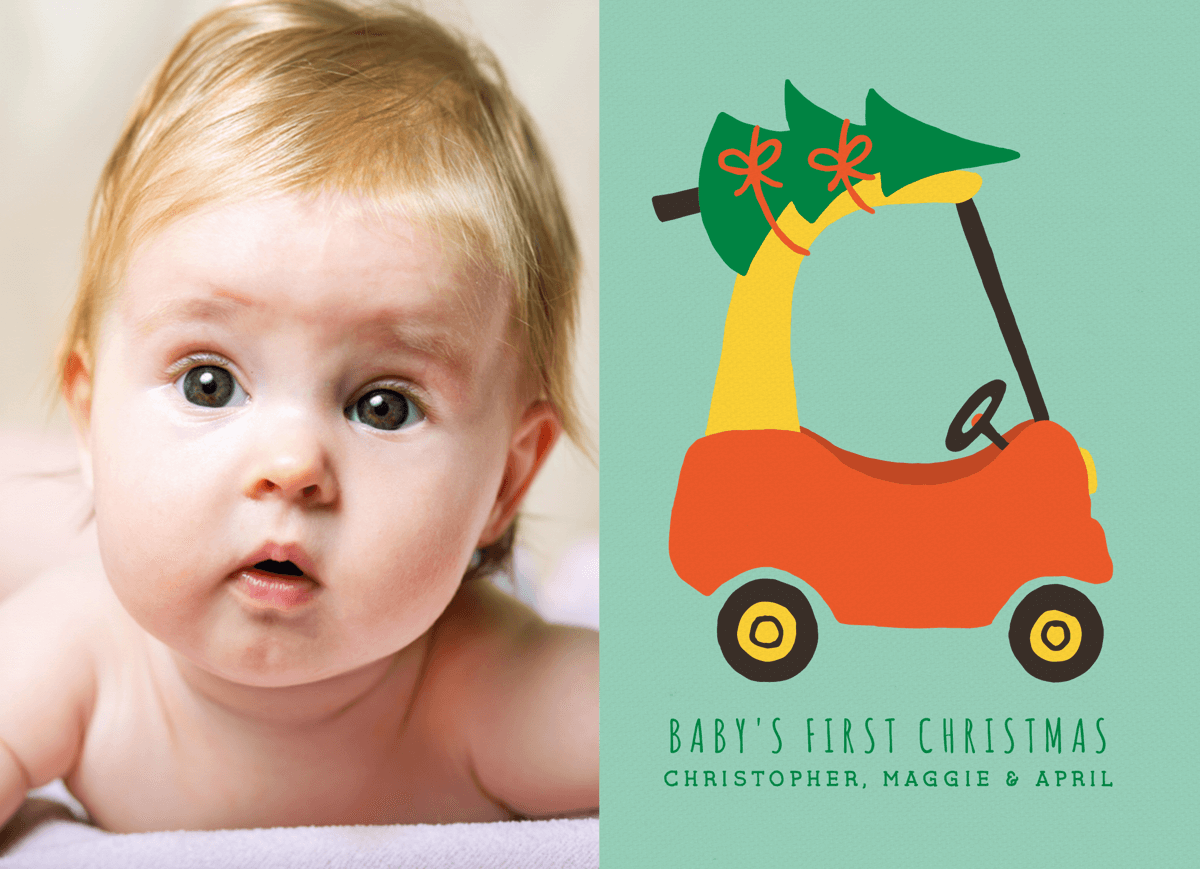 Cute Illustrated Baby's First Christmas Card