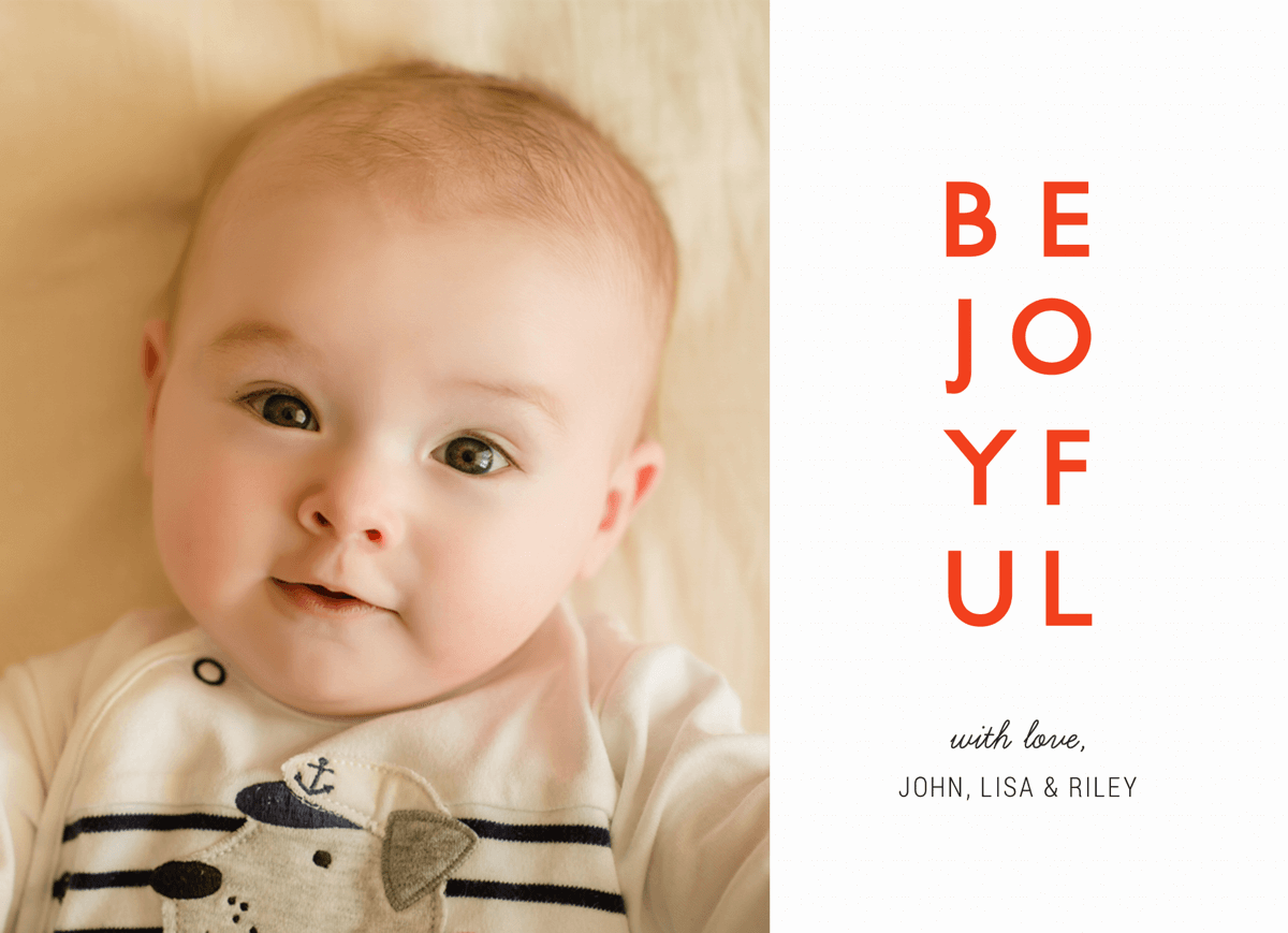 Red Be Joyful Photo Holiday Card