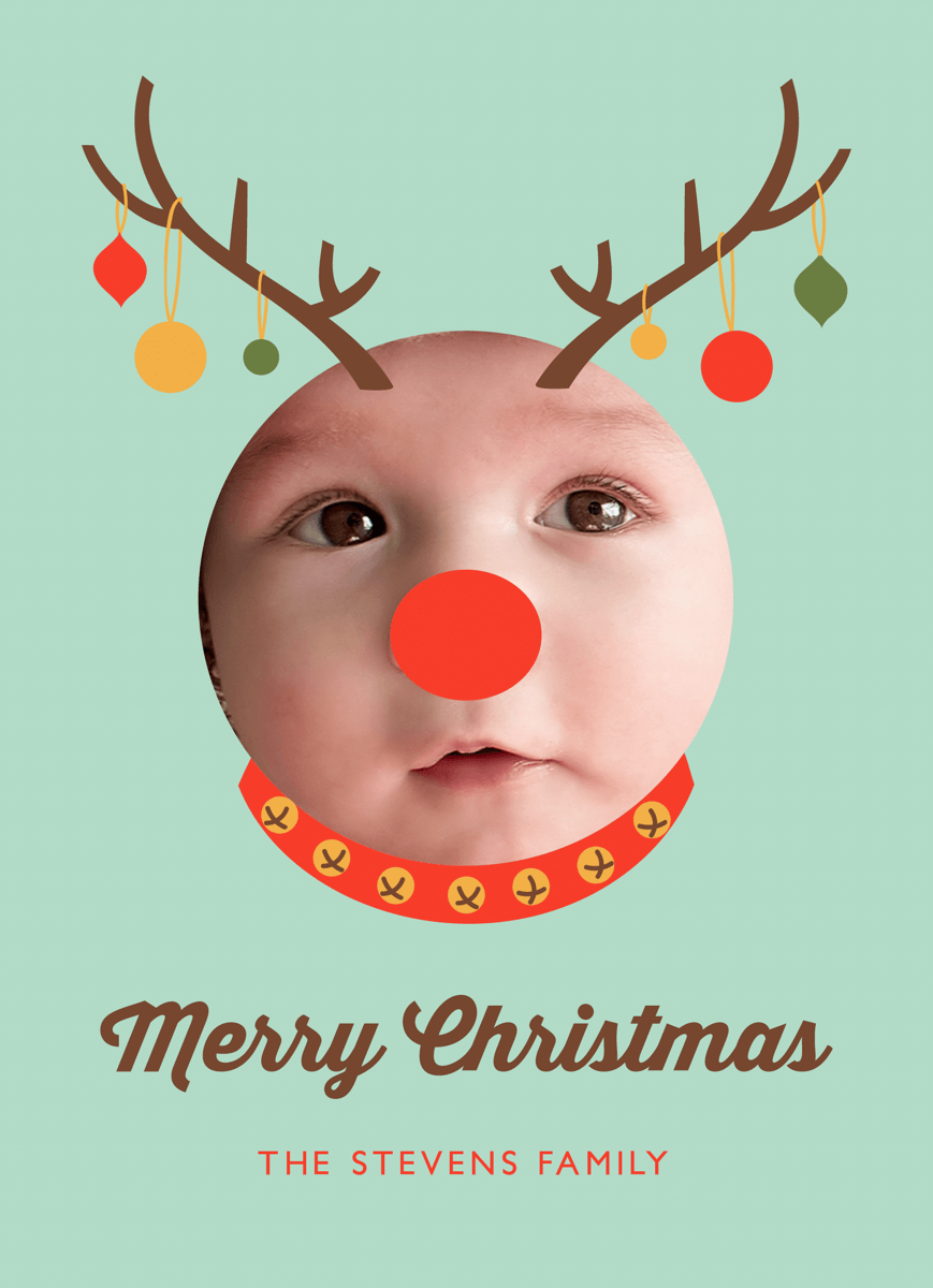 Baby Reindeer Custom Photo Christmas Card