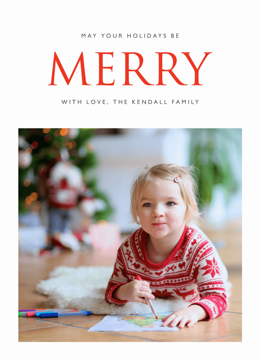 Red Merry Custom Photo Holiday Card