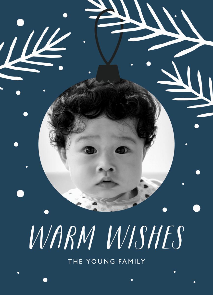 Snowy Ornament Custom Photo Holiday Card