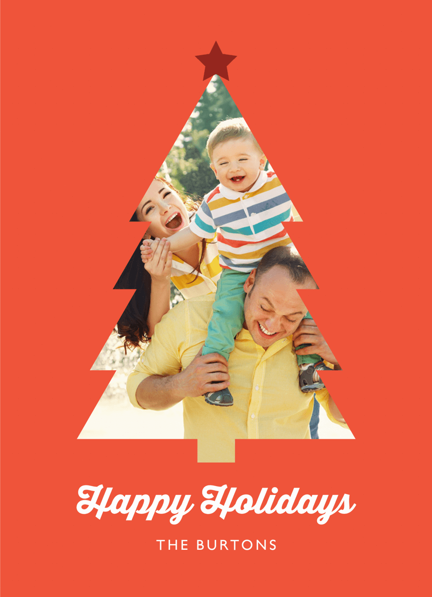Christmas Tree Cut Out Photo Holiday Card