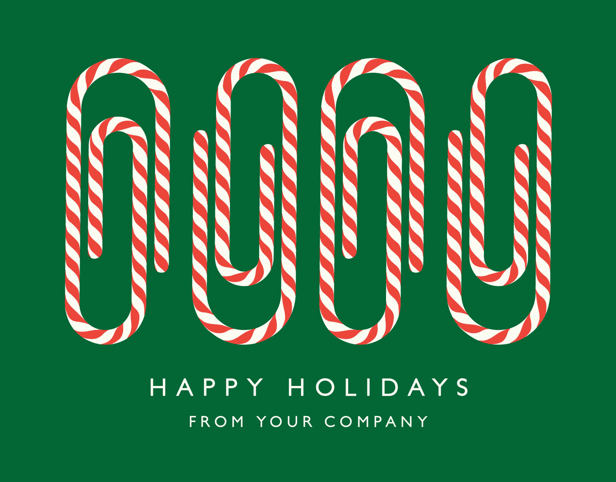 Candy Cane Paper Clips Company Holiday Card