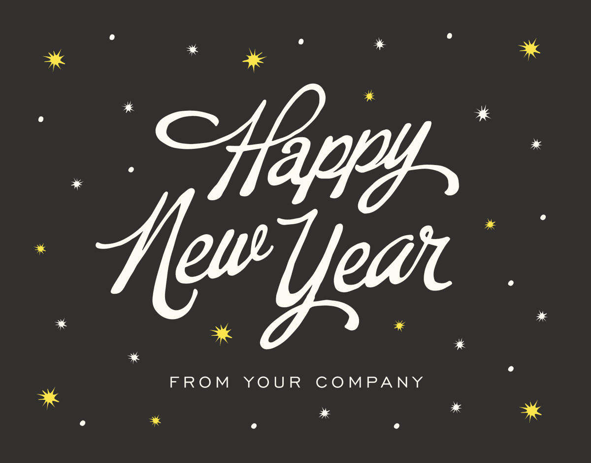 Starry New Year Company Holiday Card