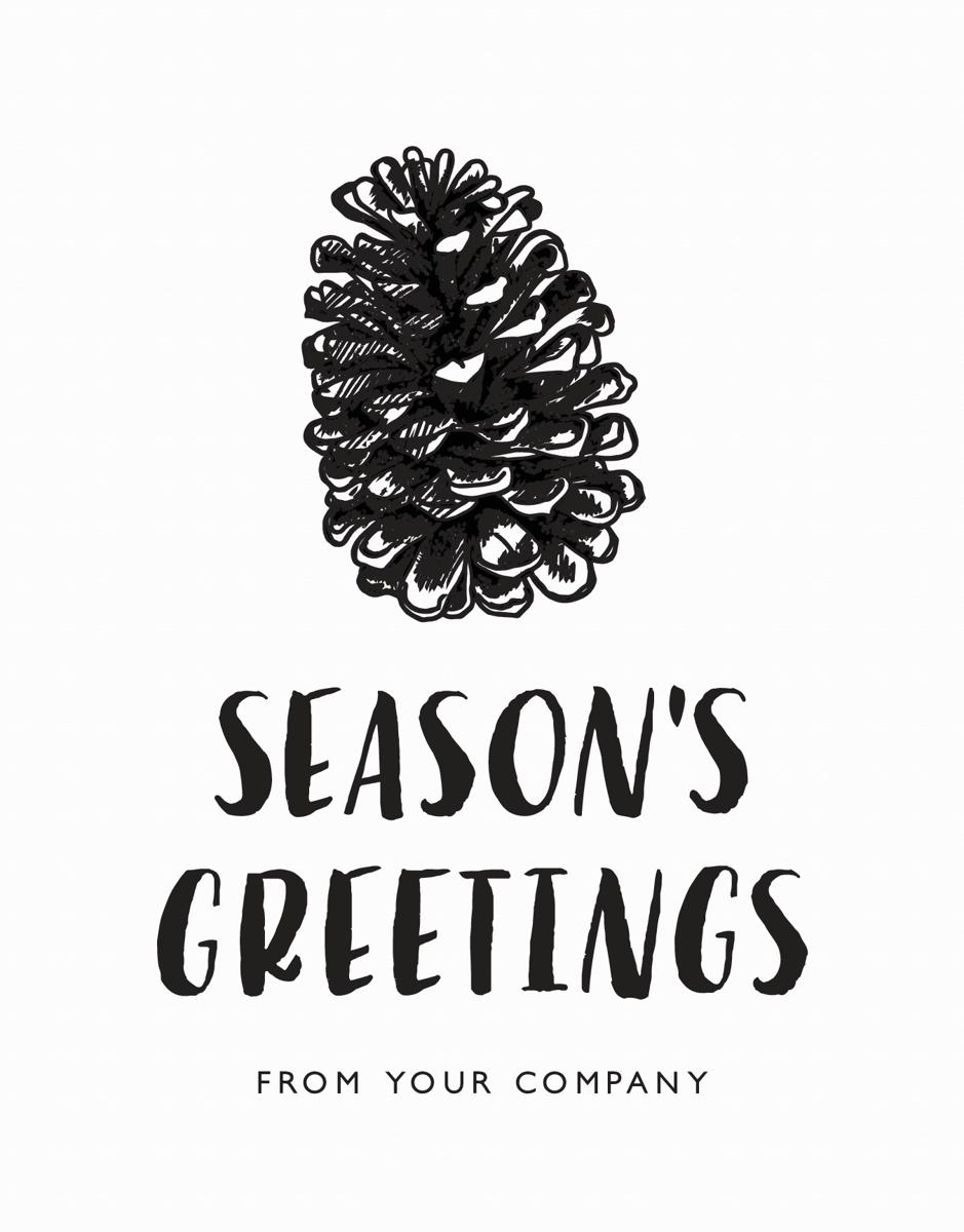 Sketched Pine Cone Company Seasons Greetings Card