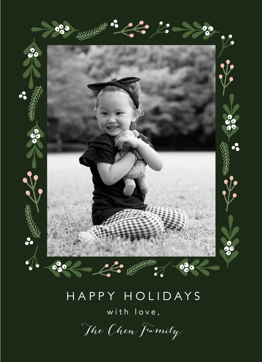 dark green folk floral holiday photo card