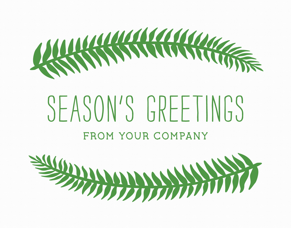 green company holiday card with fern adornment