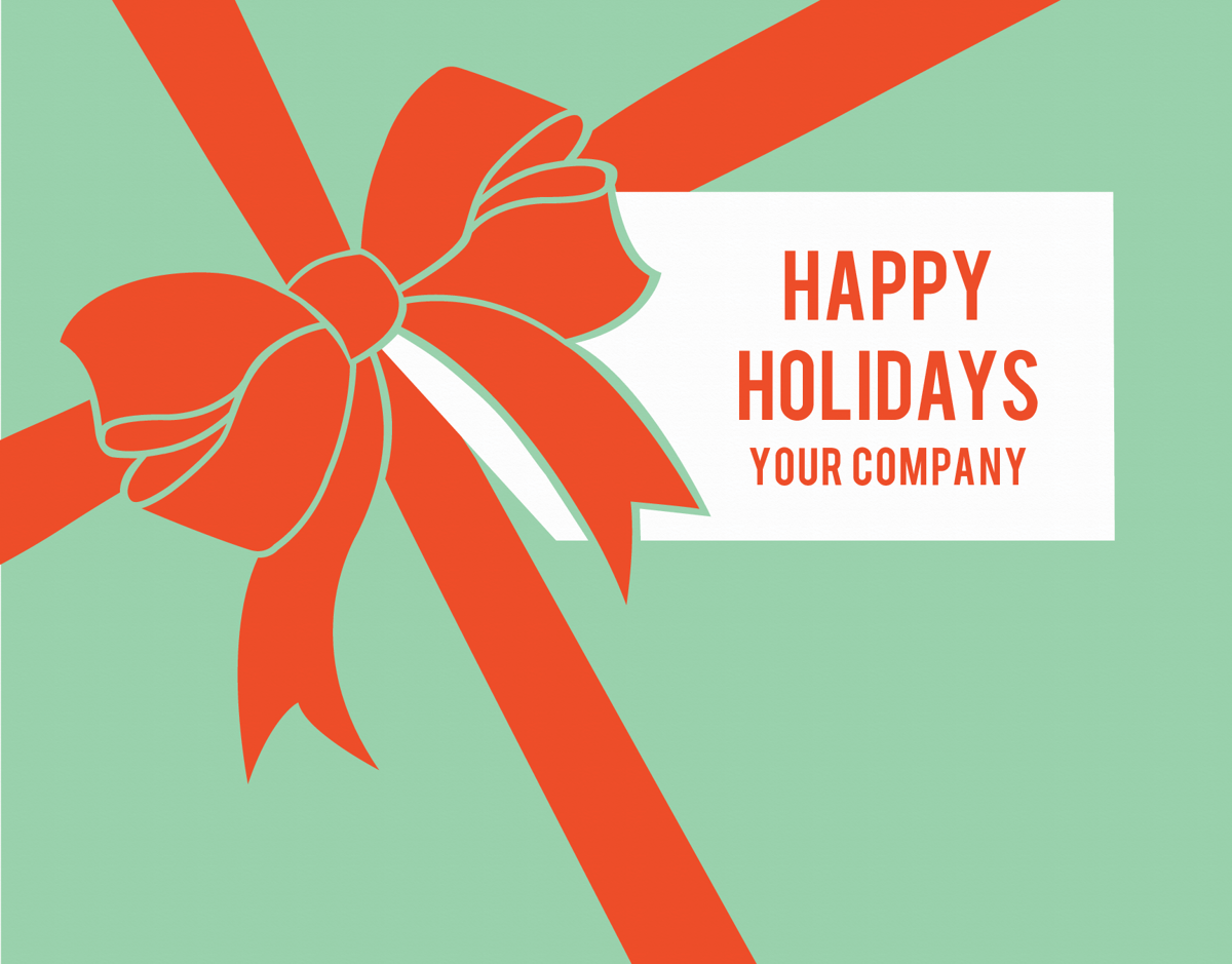 business holiday greeting card with bow