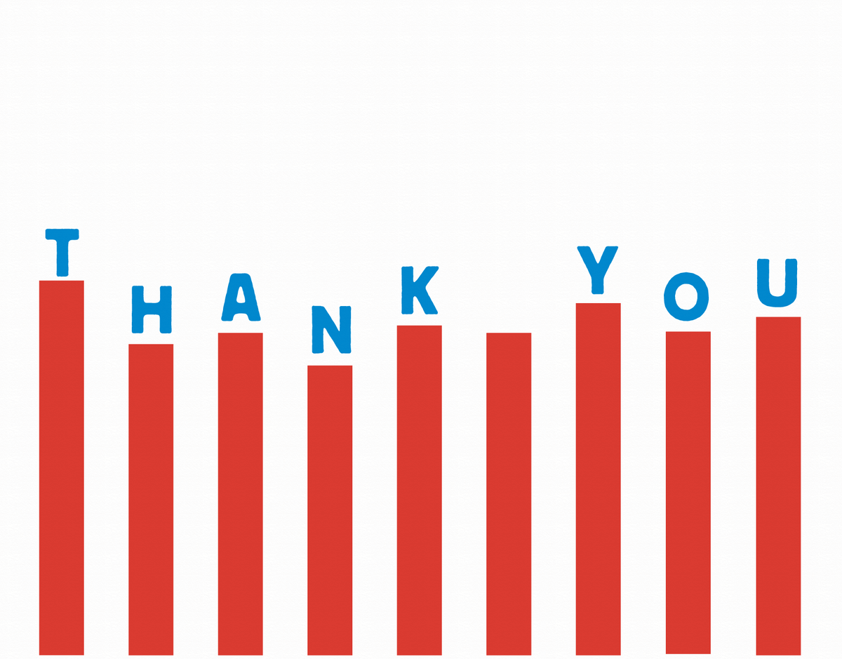 Varied Red Bars Thank You Note