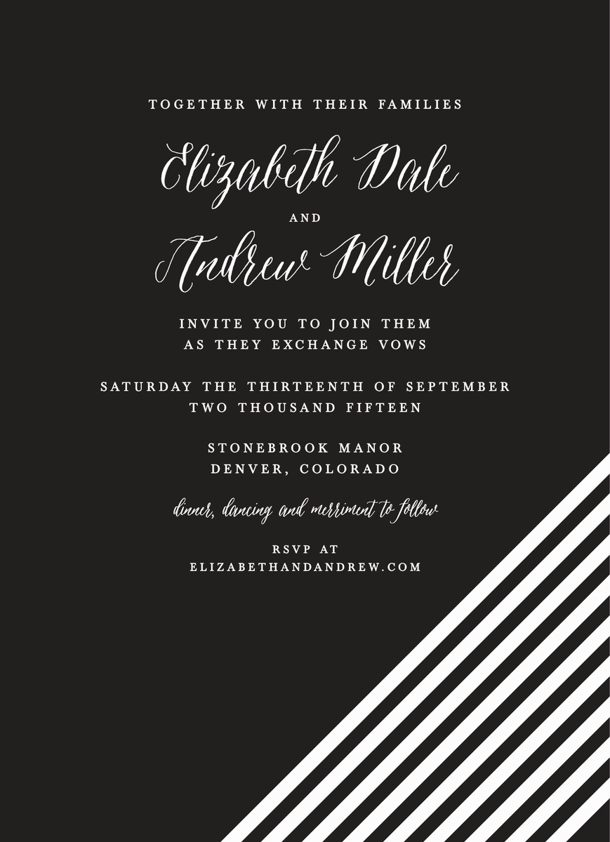 Black White Lines Wedding Invite