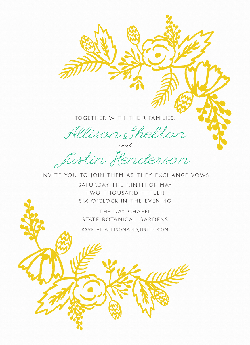 Brush Flowers Wedding Invitation