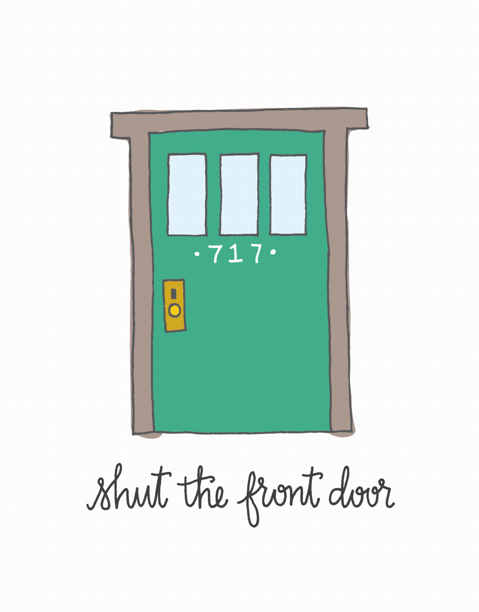 Trendy Shut the Front Door Congrats Card