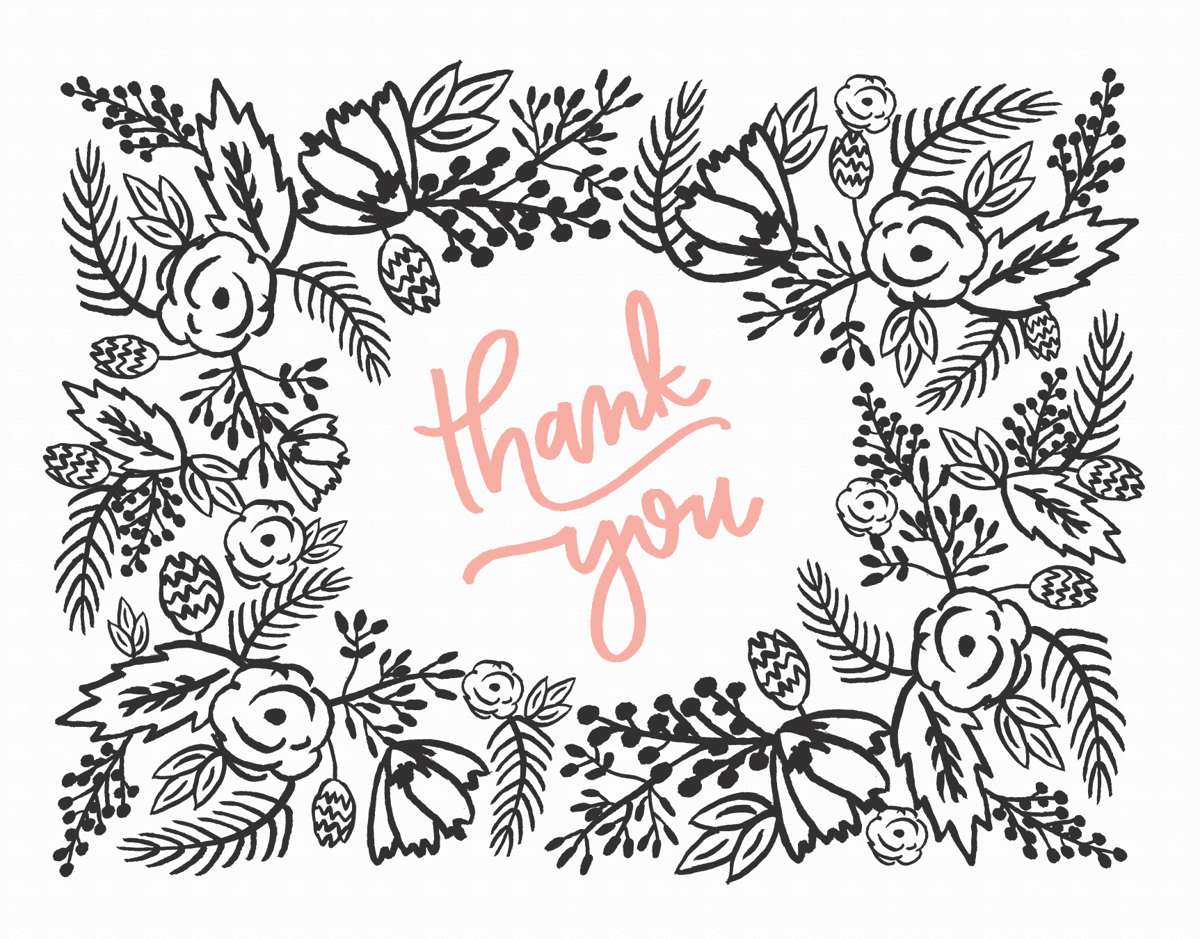 Rustic Floral Border Thank You card