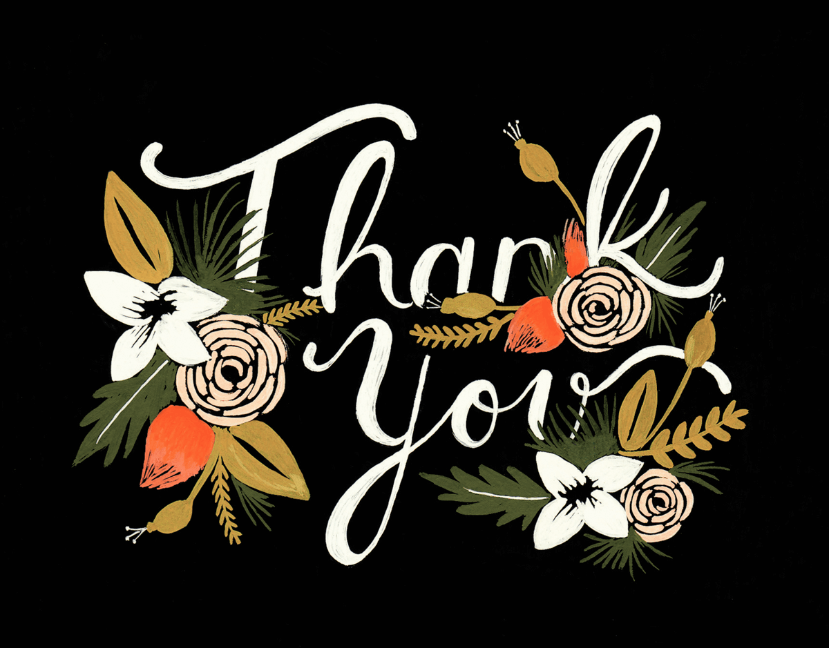 Black Thank You Card with Flowers