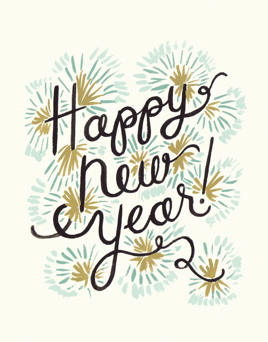 Painted Fireworks Happy New Year Card