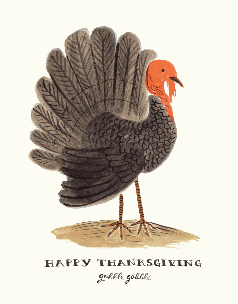 Hand Painted Turkey Happy Thanksgiving Card