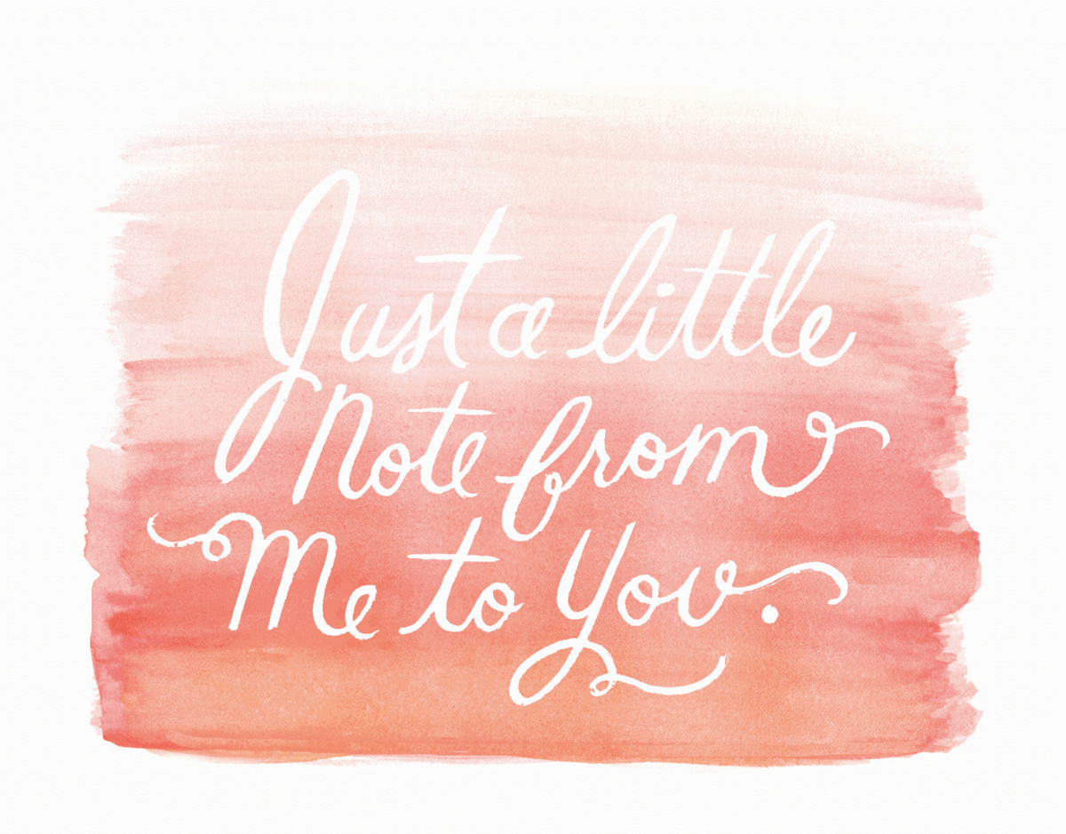 Peach Watercolor Hello Card