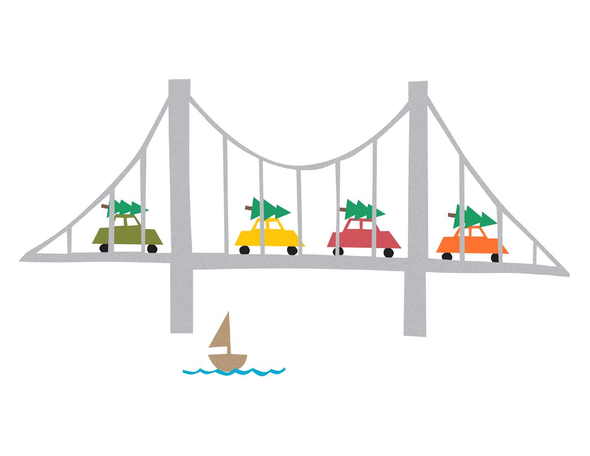 Cars on Bridge Christmas Card