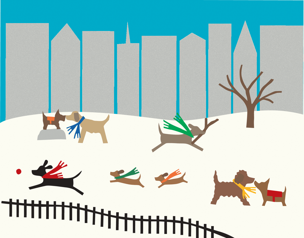 Dog Park Winter Stationery