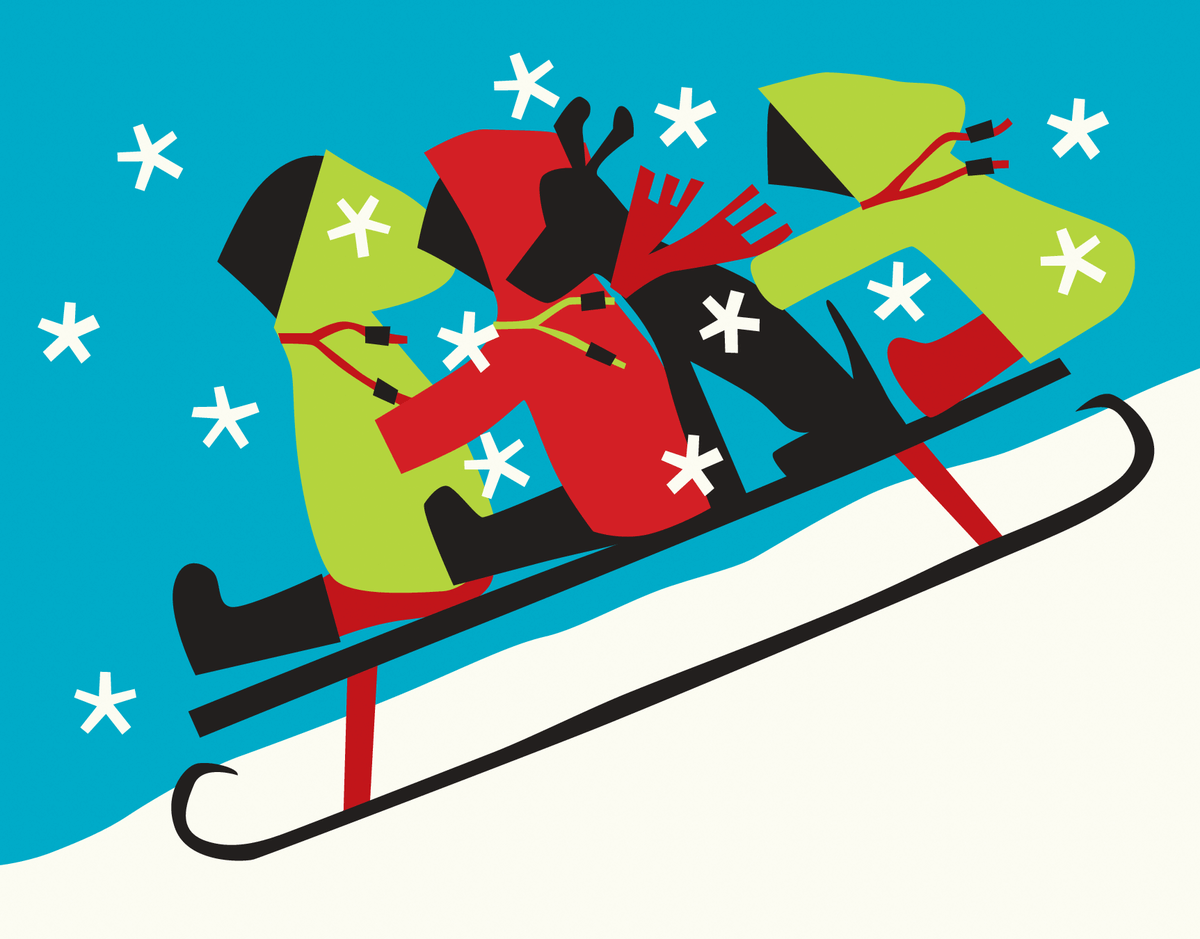 Green and Red Sledders Stationery