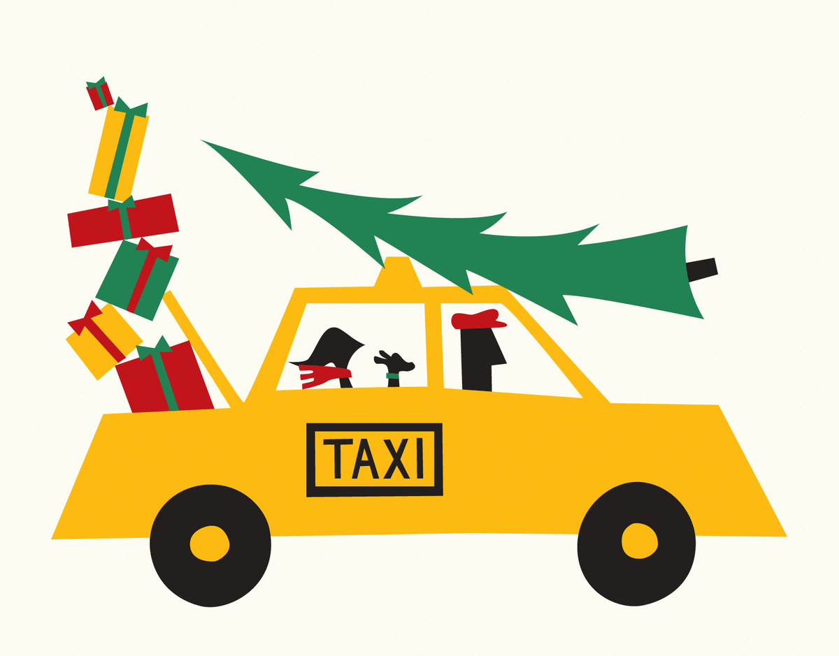 Shopping Taxi Holiday Card