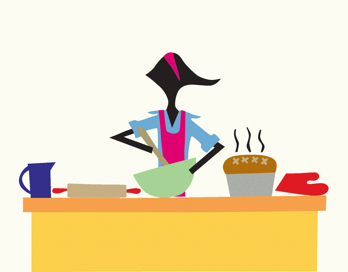Colorful Baker in Kitchen Stationery