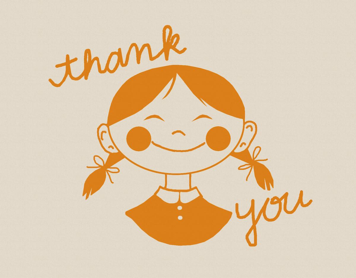 Orange Girl Thank You Card