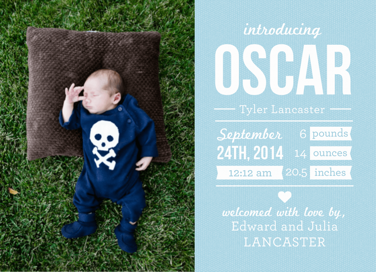 Birth Announcement with Blue Dots