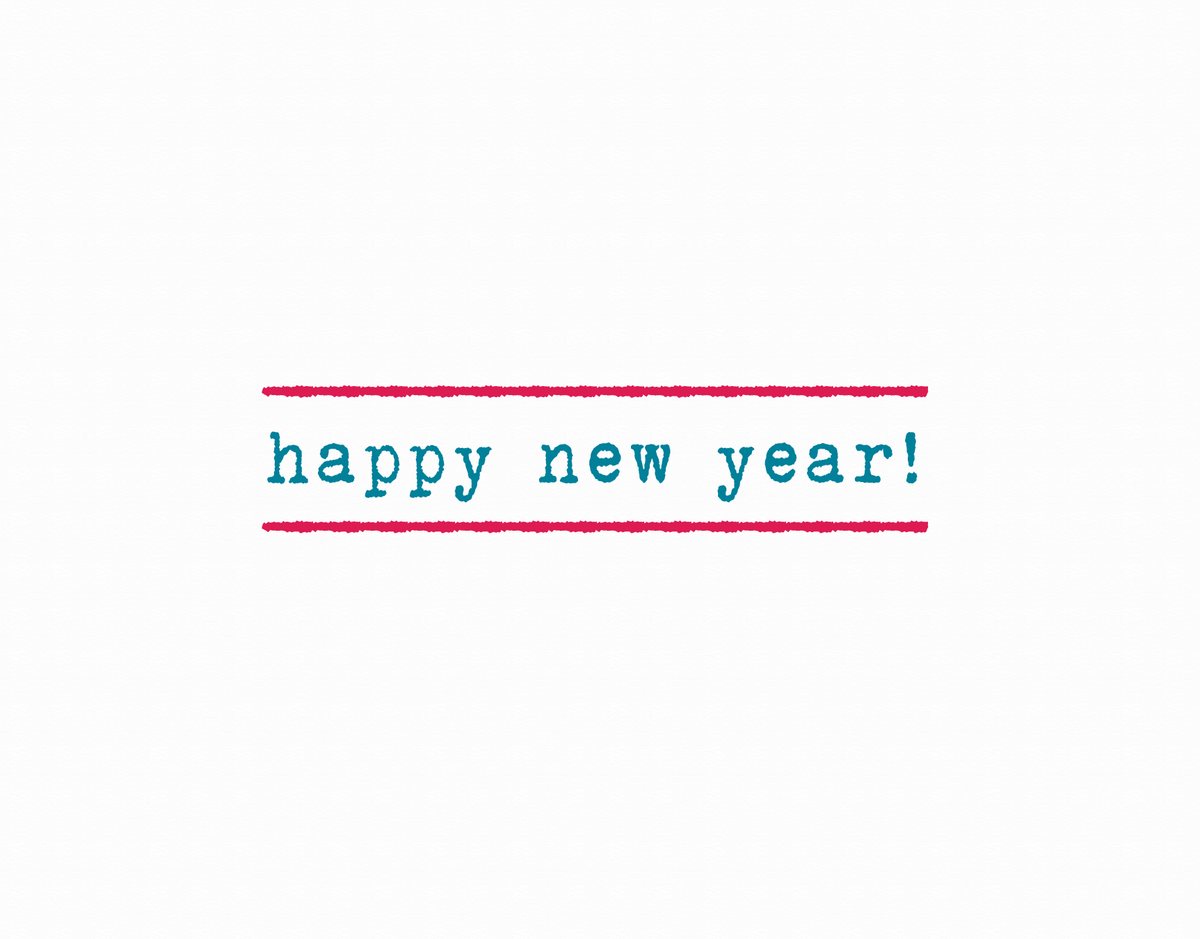 Simple Striped Happy New Year Card