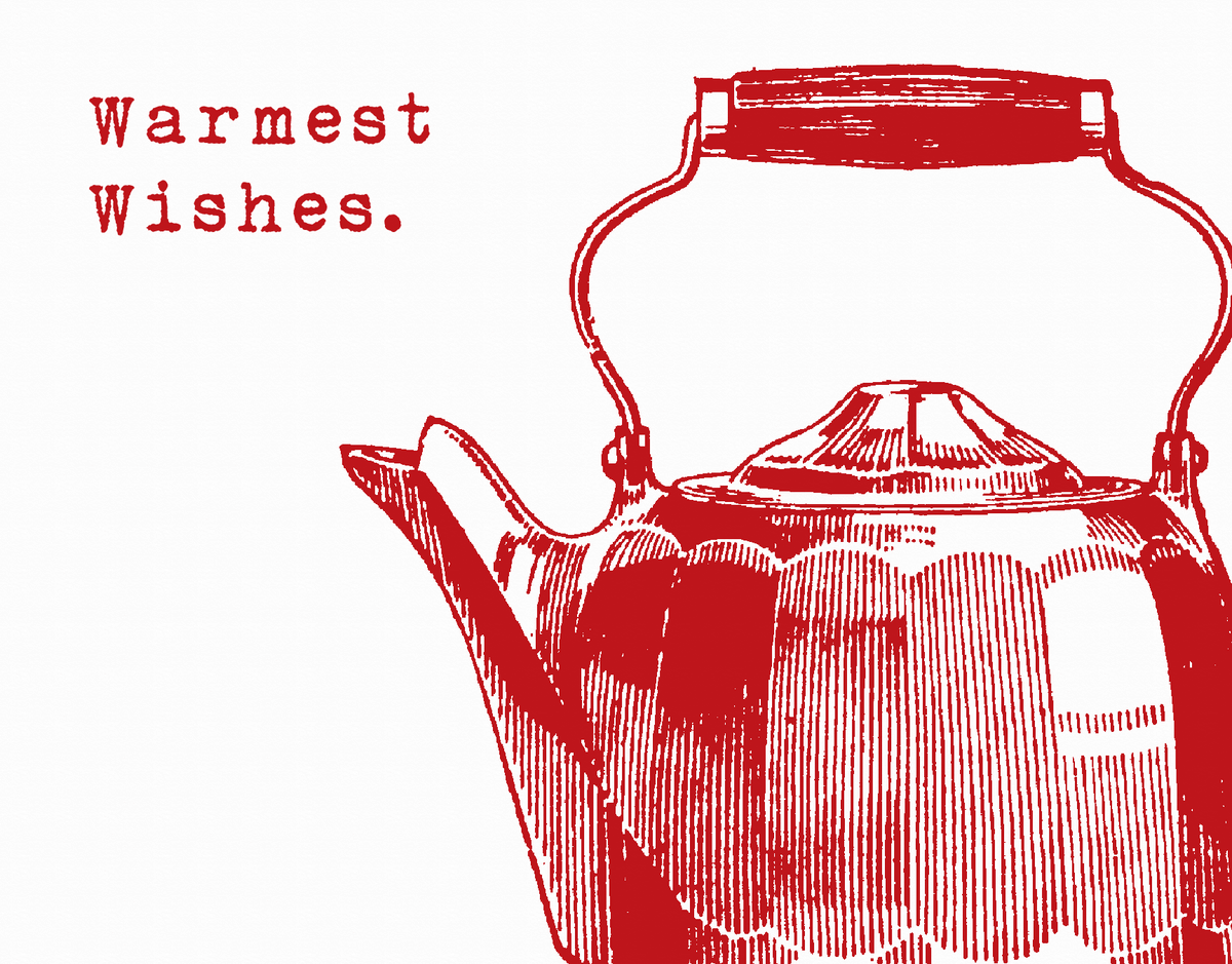 Holiday Card with Red Kettle