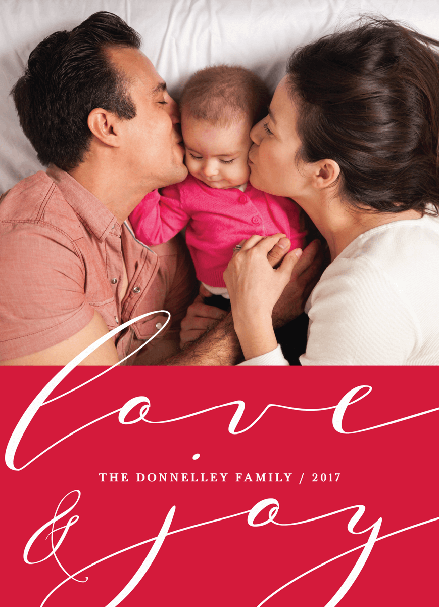 classic love and joy holiday card with thin script and photo