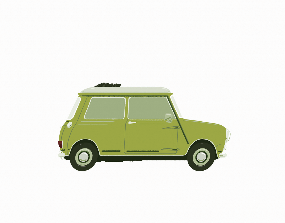 Vintage Car Lime Green