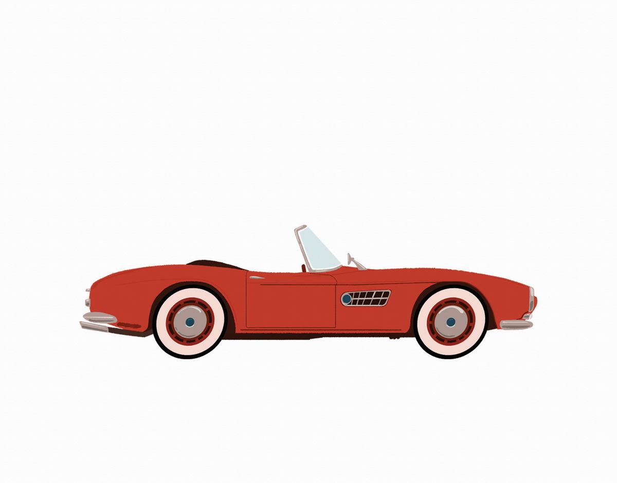 Vintage Car Cherry Red