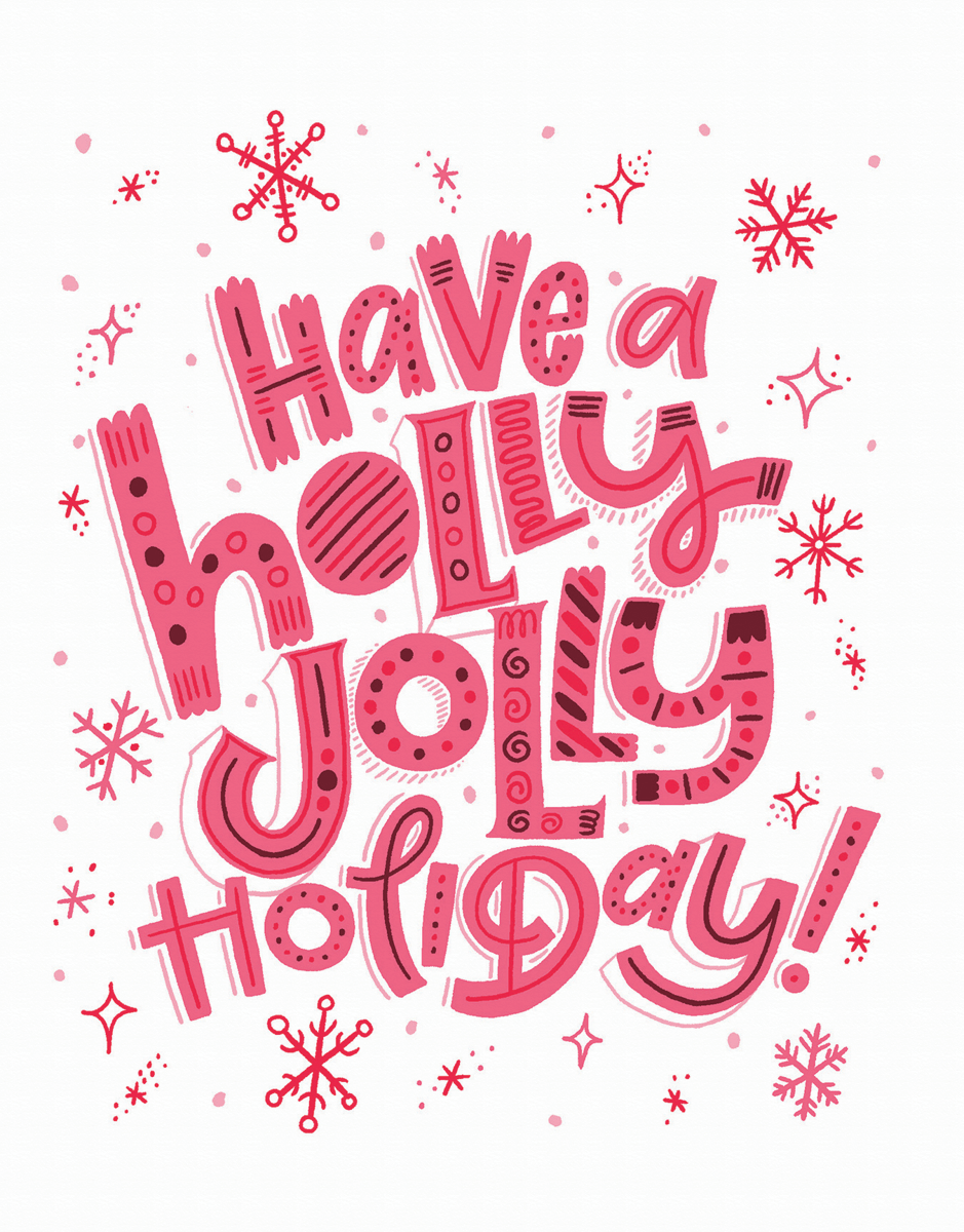 bold pink typography holiday greeting card that says holly jolly holiday