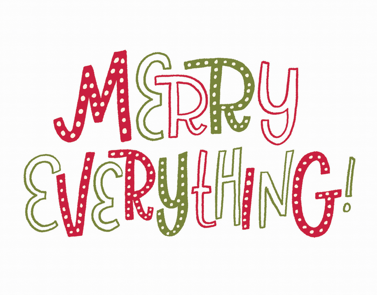 funky merry everything holiday greeting