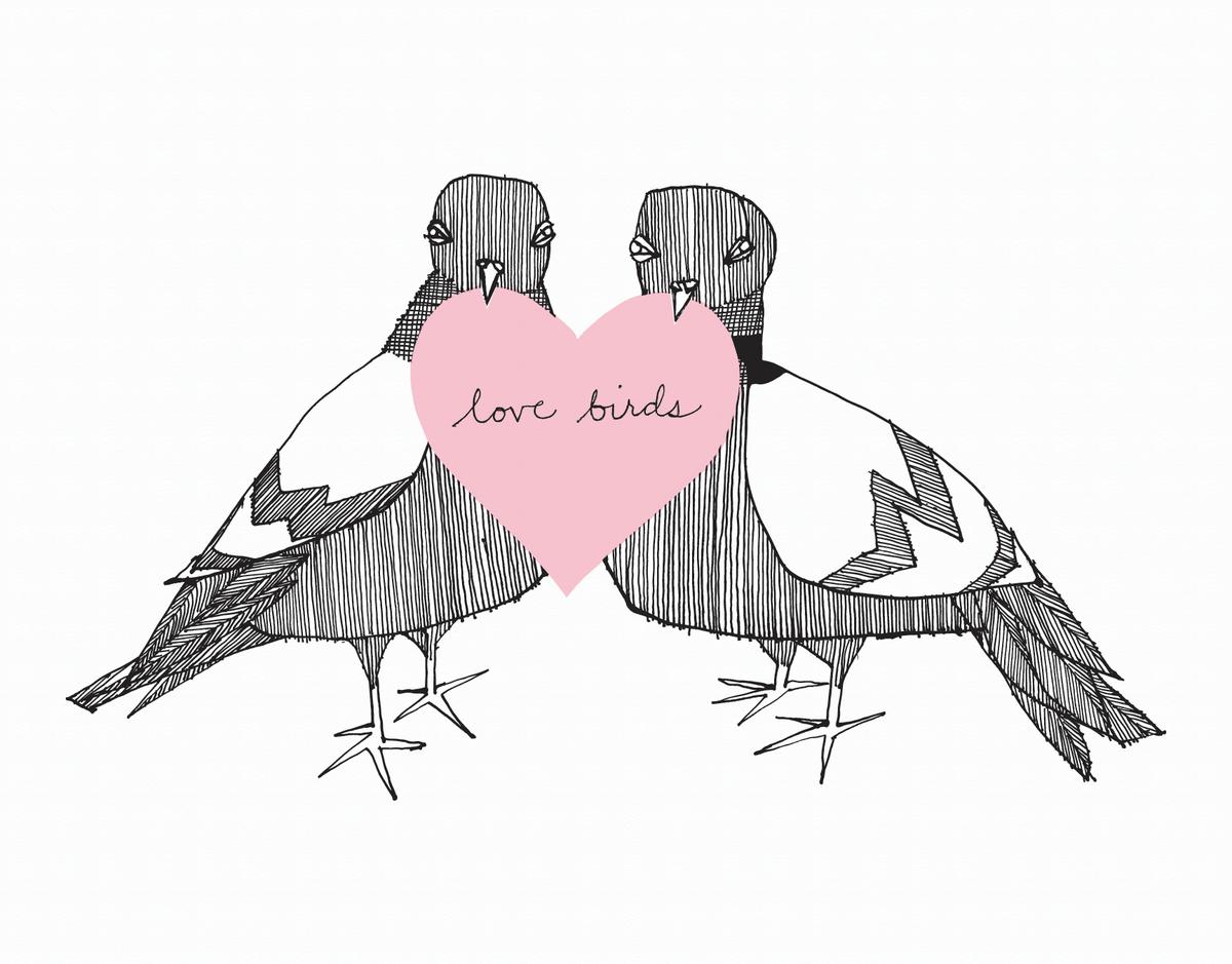 Love Birds and heart Card