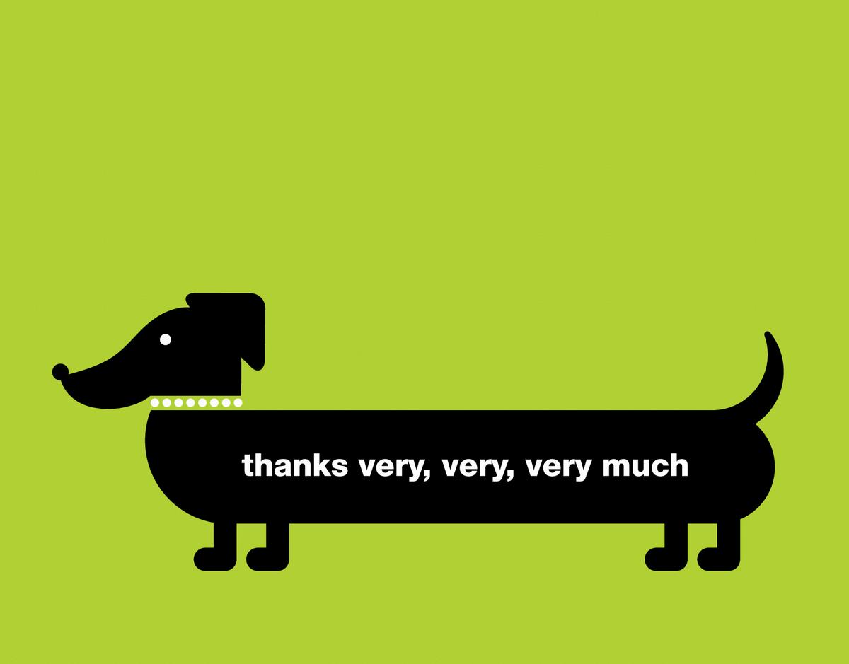Green Dauschund Thank You Card