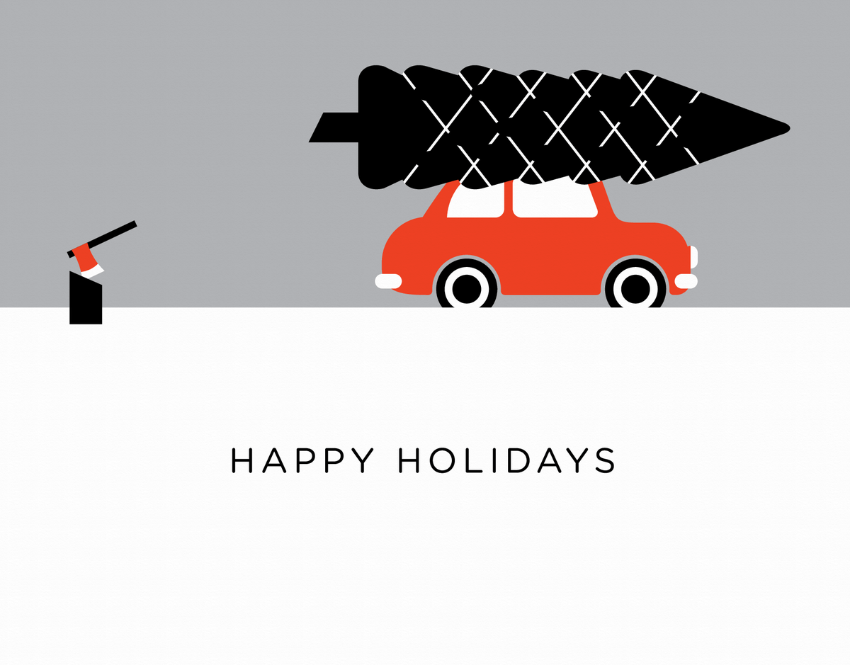 modern Holiday Card with christmas tree