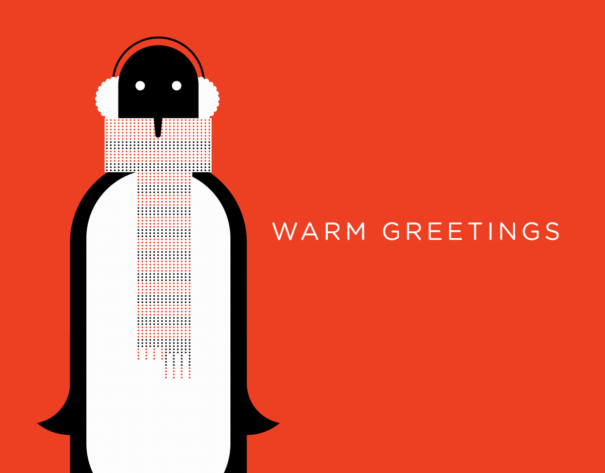 Penguin in Scarf Holiday Card