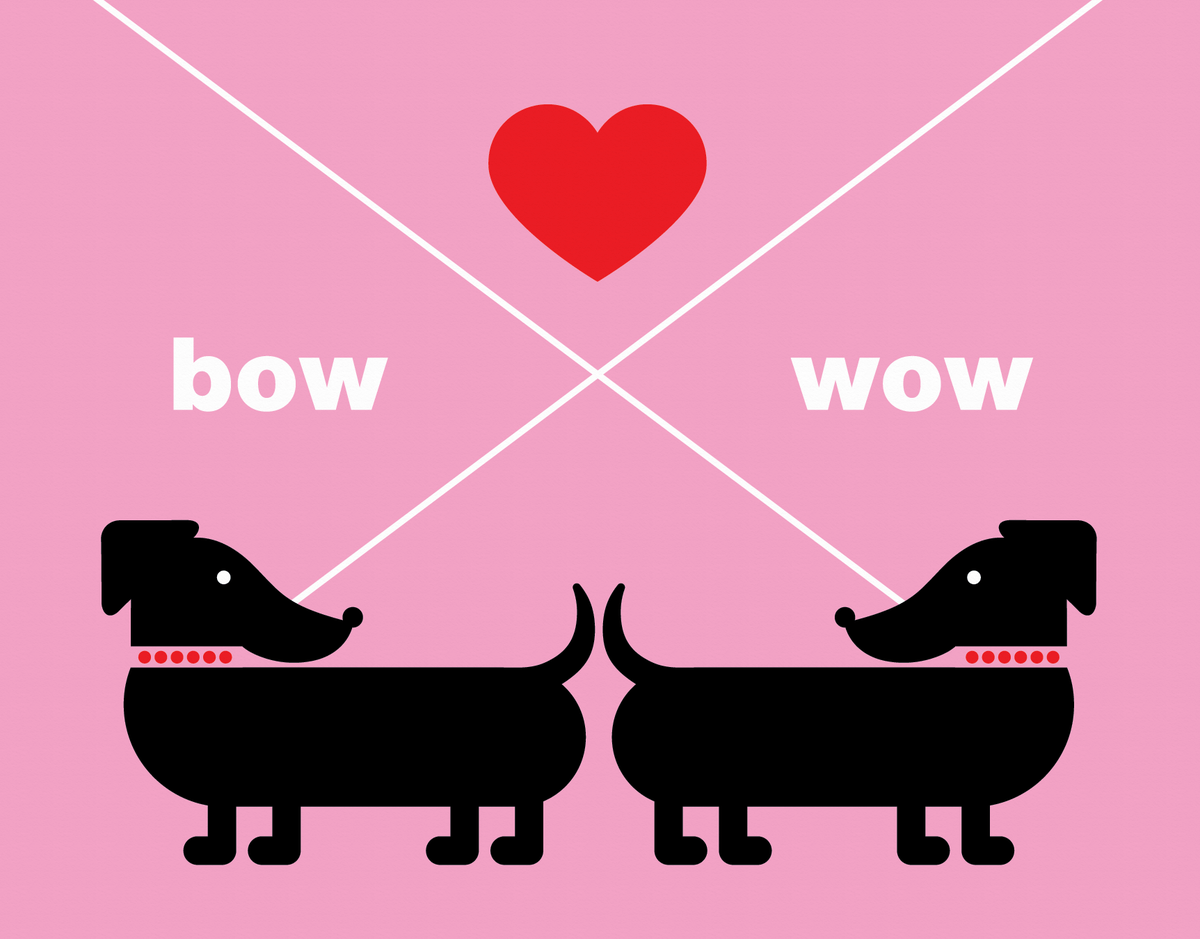 Pink Graphic Dogs Love Card