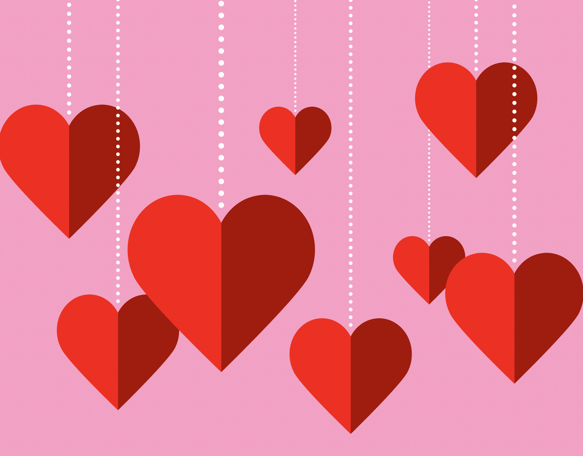 Hanging Hearts Valentine's Card