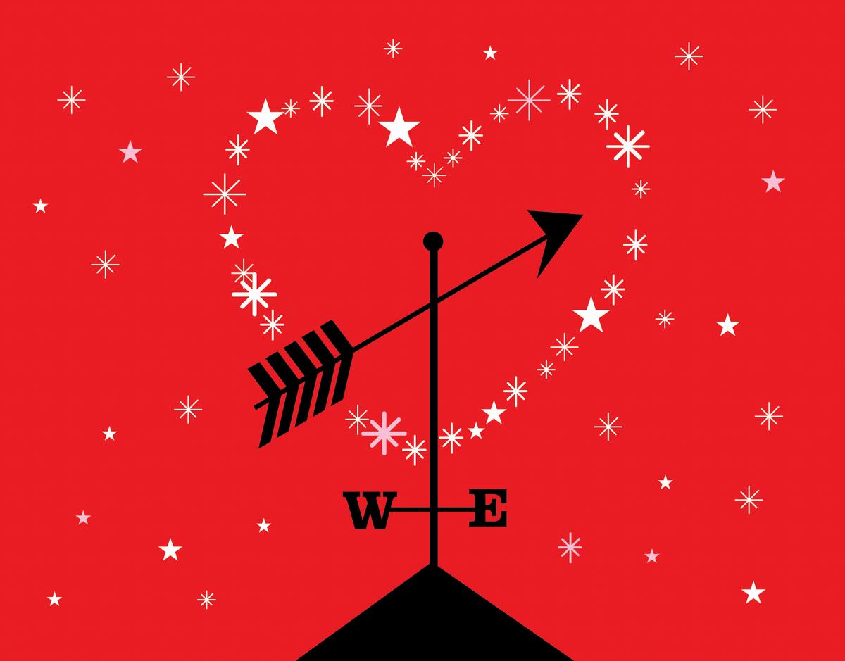 Weathervane and Heart Valentine Card