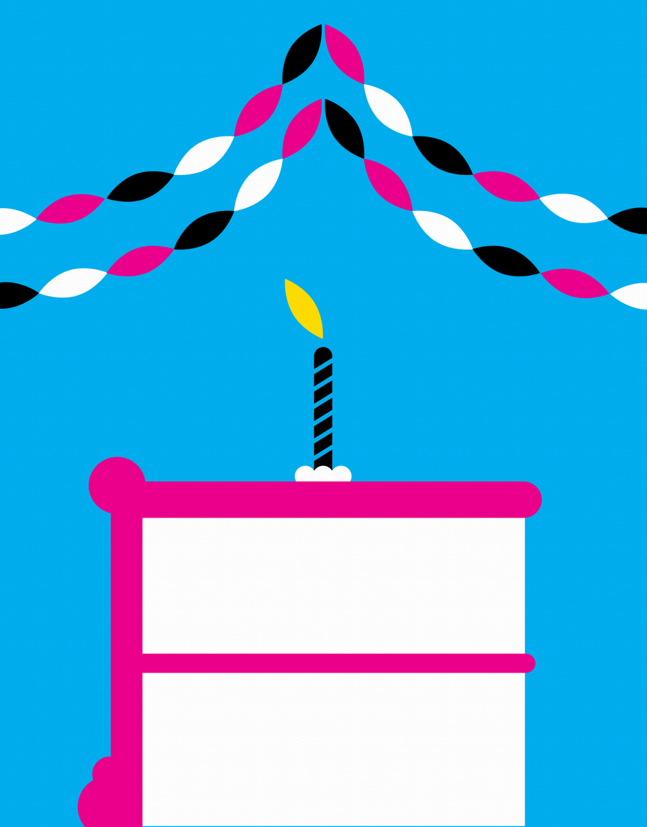 Graphic Birthday Cake Candles Card