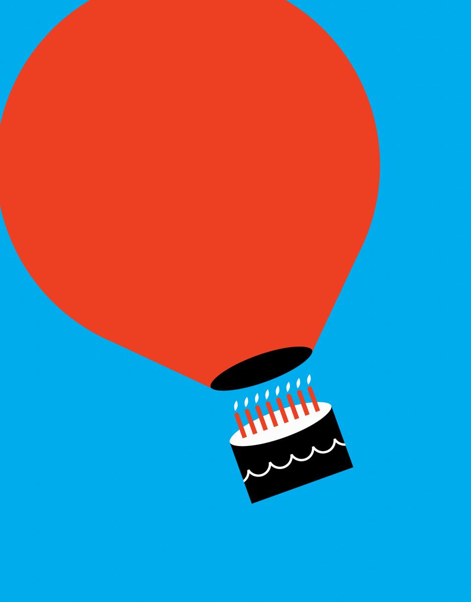 Hot Air Balloon Cake Birthday Card